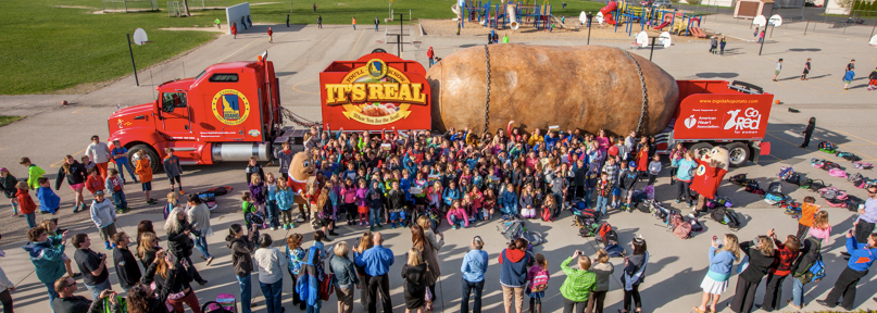 Hundreds of Riverside Elementary School students in Boise, along with teachers, parents and the IPC's mascots Spuddy Buddy and Spud Beauty, gave the Truck its biggest (and loudest) send-off ever!