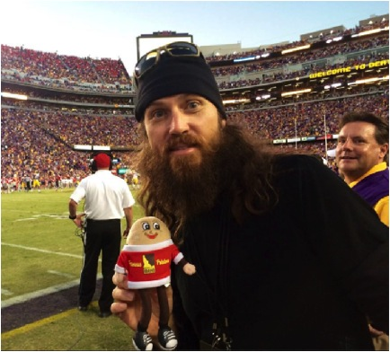 Heather Cox and Spuddy Buddy had the chance to meet Duck Dynasty on A & E's Jase Robertson at the recent LSU vs. Ole Miss Football game. Jase is a longtime LSU fan, and it looks like he's an Idaho® potato fan, too!